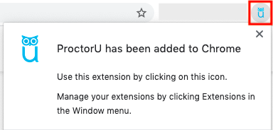 screengrab of google chrome browser extension popup with proctorU icon blue owl in red box