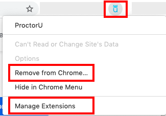 screengrab of google chrome browser extension right click on procotrU icon with remove from chrome and manage extension in red boxes