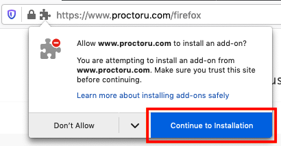 screengrab on firefox popup with red box around button continue to installation