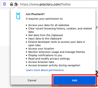 screengrab on firefox popup with red box around button Add