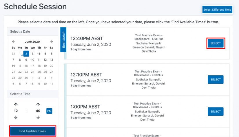 screengrab of procotru available times window with find sessions times and select in red boxes