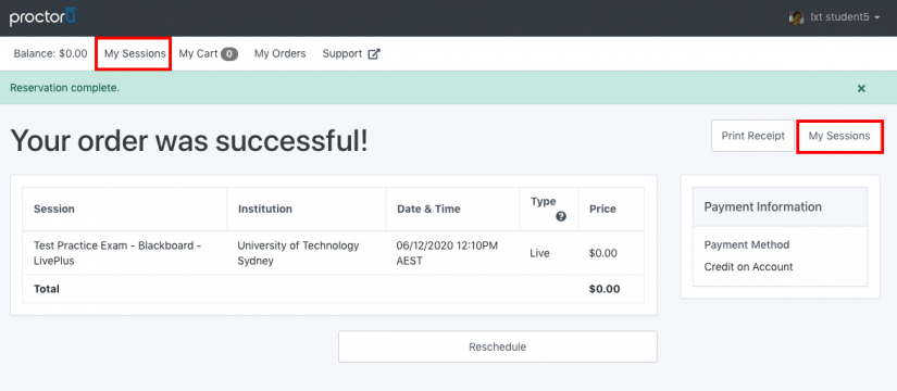 screengrab of proctoru successful exam booking screen with my sessions in red box