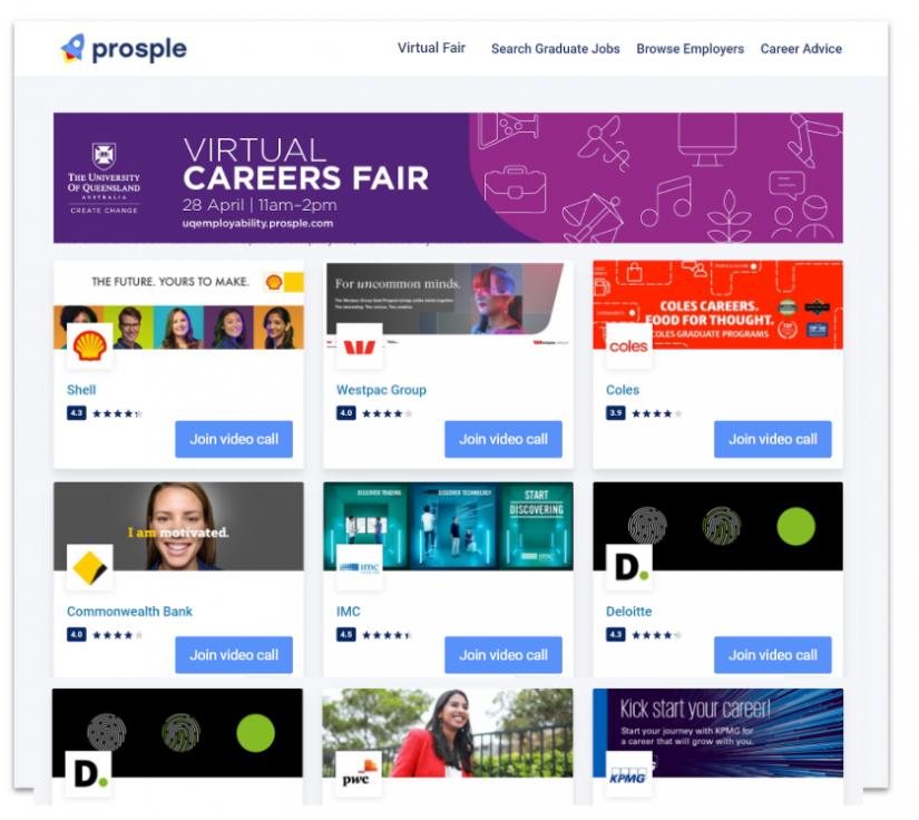 screen grab of virtual careers fair website