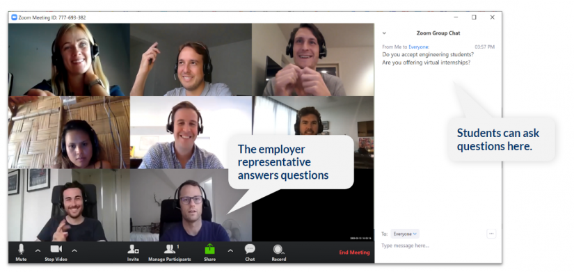 screenshot of zoom meeting with chat panel displayed