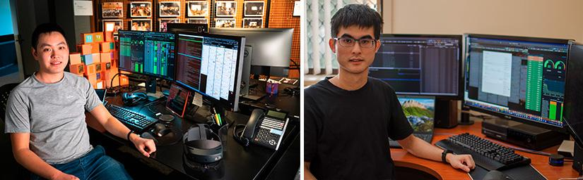 Seng Venly Ung (left) and  Andrew Lai sit at their workstations