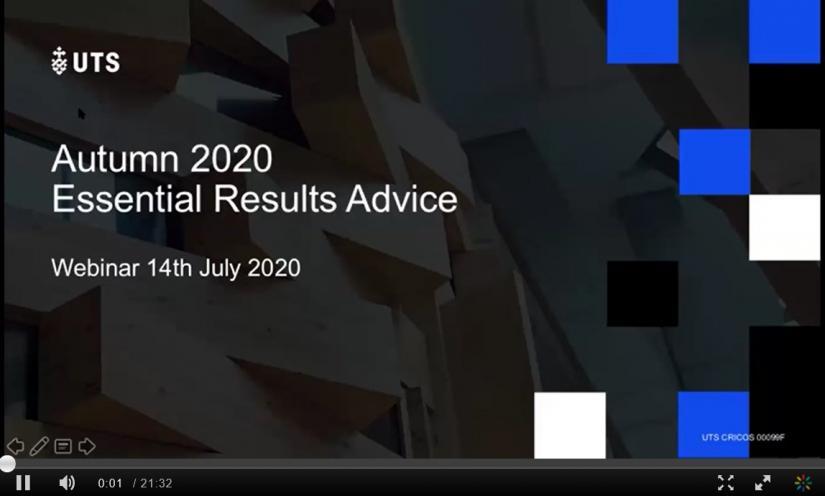 Still of essential results advice webinar recording