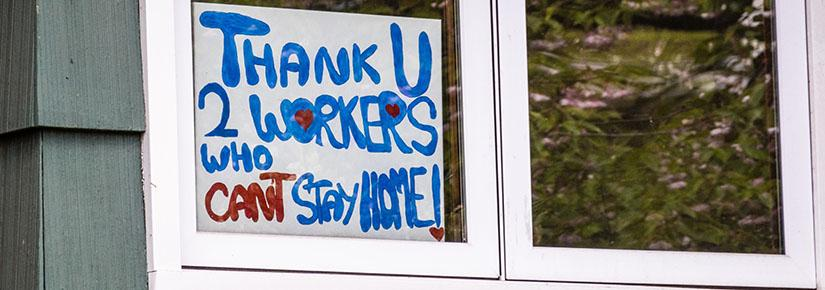 Thank you to essential workers - sign