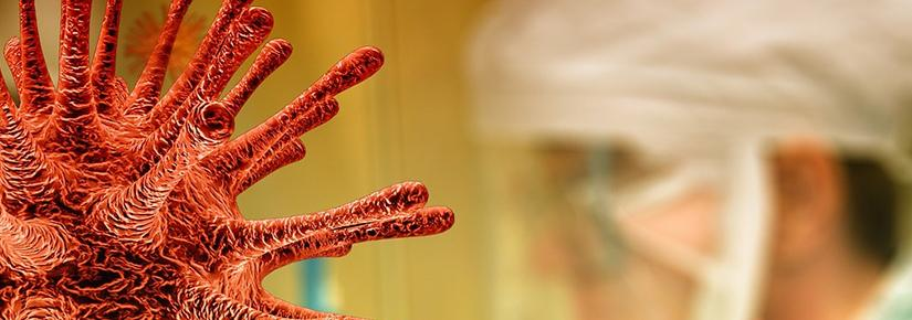 Close up of covid virus, researcher in the background
