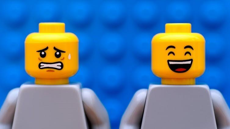 happy and anxious lego faces