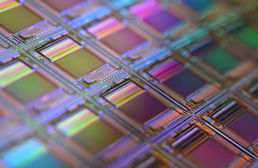 A rainbow-hued silicon wafer