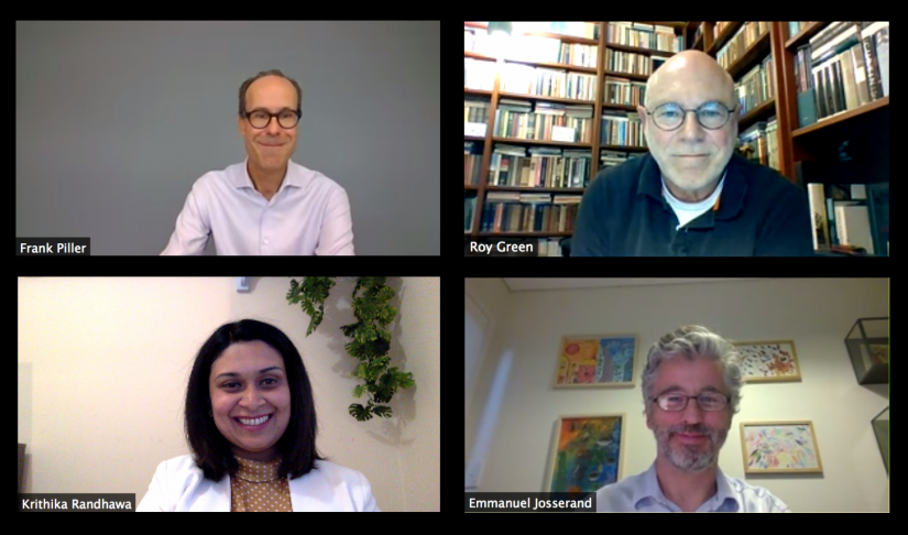 Screen shot of presenters Frank Piller, Roy Green, Krithika Randhawa and Emmanuel Josserand