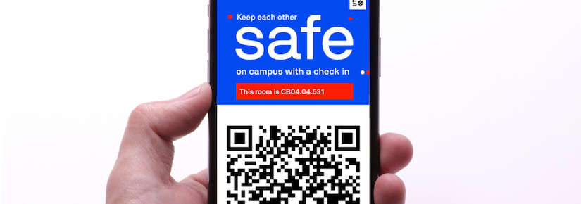 Mobile phone with QR code and UTS COVID safe message