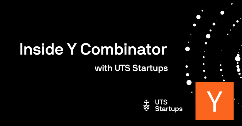 Inside Y Combinator with UTS Startups event banner with UTS Startups logo and Y Combinator logo.