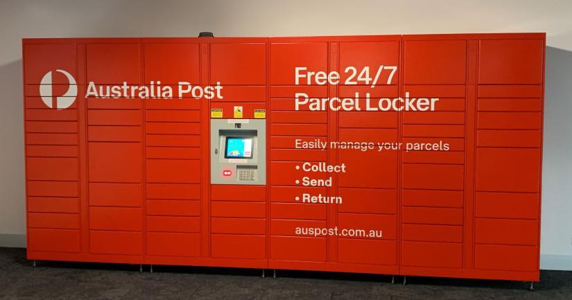 Red parcel lockers in UTS Building 2