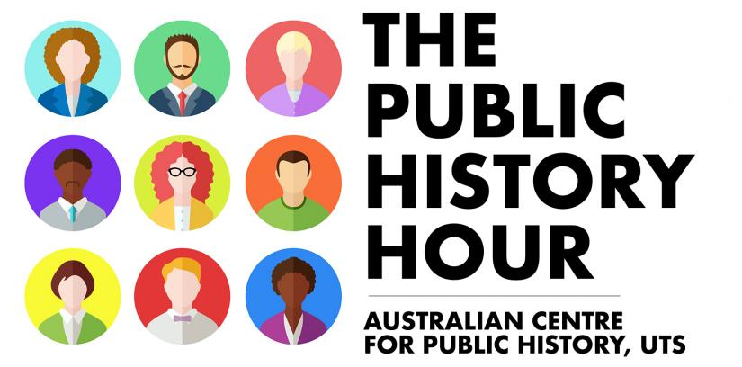 banner with 9 diverse cartoon style faces next to the text The Public History Hour