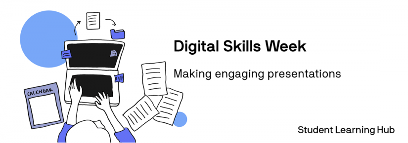person sitting at computer with notes. Digital skills week. Making engaging presentations. Student Learning Hub.