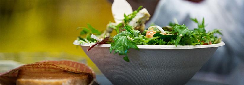 Food in compostable packaging