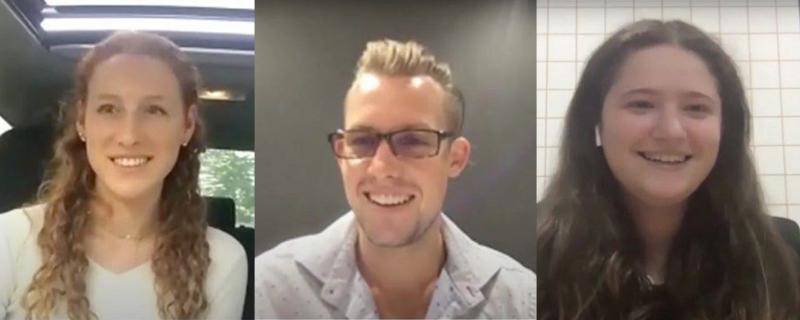 three screenshots of students smiling