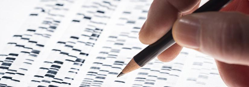 Pencil hovers over genetic sequencing