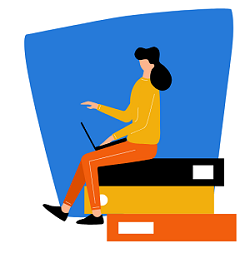 Illustration of student getting online support