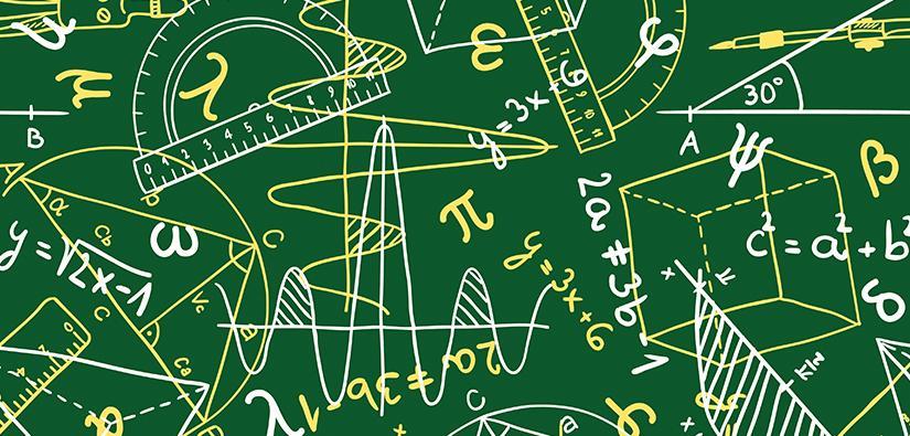 Maths equations on blackboard