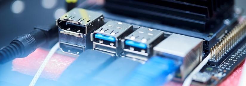 Photo of computer plugs