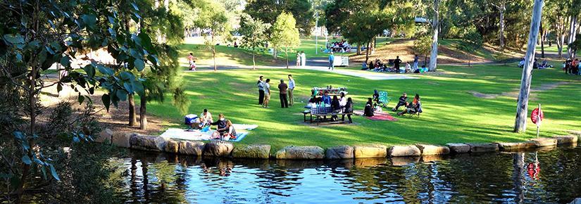 Park scene: picnic, green grass, lake