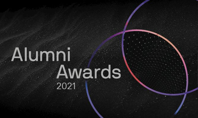 Alumni Awards 2021 on a black starry background with two concentric colourful circles