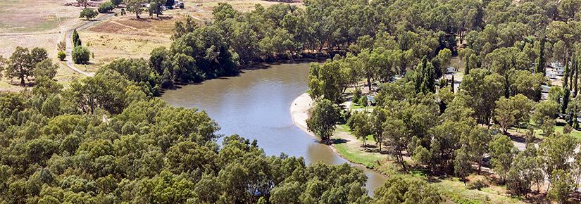 Aerial view of the Murrumbidgee River at Wagga Wagga