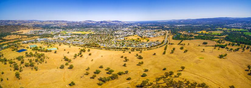 A panoramic image of the city of Wodonga in Victoria.