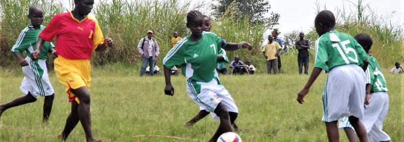 childrens soccer game in DR Congo