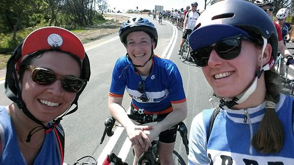 Jane Parker (middle) and two of the CycleHack Sydney participants, completing the Sydney to Gong bike ride last November (a few months after meeting at CycleHack)
