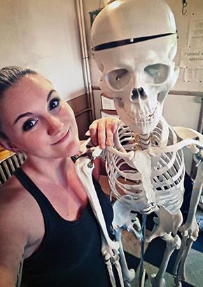 Felicity Hall with skeleton