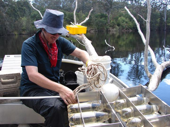 James Hitchcock working on the Bega River estuary