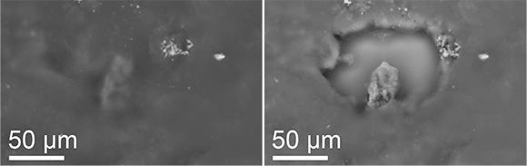A stardust particle before and after exposure to the light