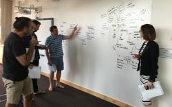 EMBA group work including white board flow charts