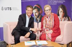 Civica's Richard Fiddis and UTS IPPG's Roberta Ryan sign MoU