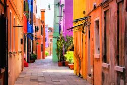 A colourful street in the sun