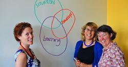 Dana Cordell, Dena Fam, Cynthia Mitchell demonstrating TD research