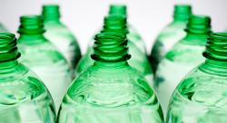 Green recyclable bottles