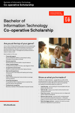 Cover of the UTS Bachelor of Information Technology flyer