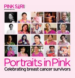 "Poster for the Pink Sari ""Portraits in Pink"" project"