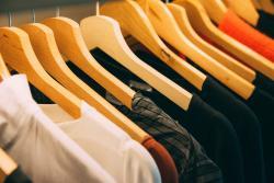 T-shirts on coat hangers