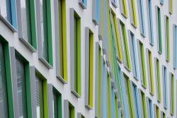 The colourful, undulating Building 7 facade
