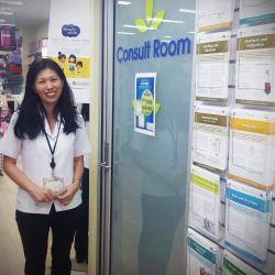 Sally Blooms Pharmacist standing outside consultation room