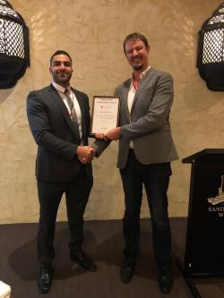 FEIT and CEE's Omar El-Hawat receiving the Charles Bubb Award