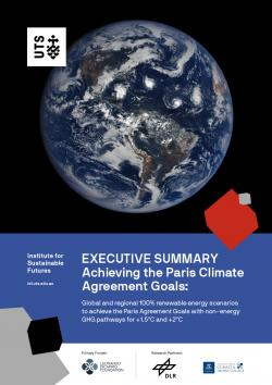Front page of exec summary with photo of globe and title