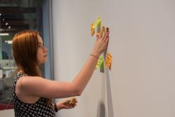 Student mapping a process on the wall using post it notes