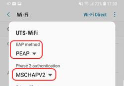 android uts-wifi eap and phase 2