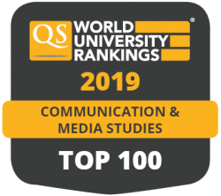QS World University Rankings 2019 Communication and Media Studies TOP 100 badge